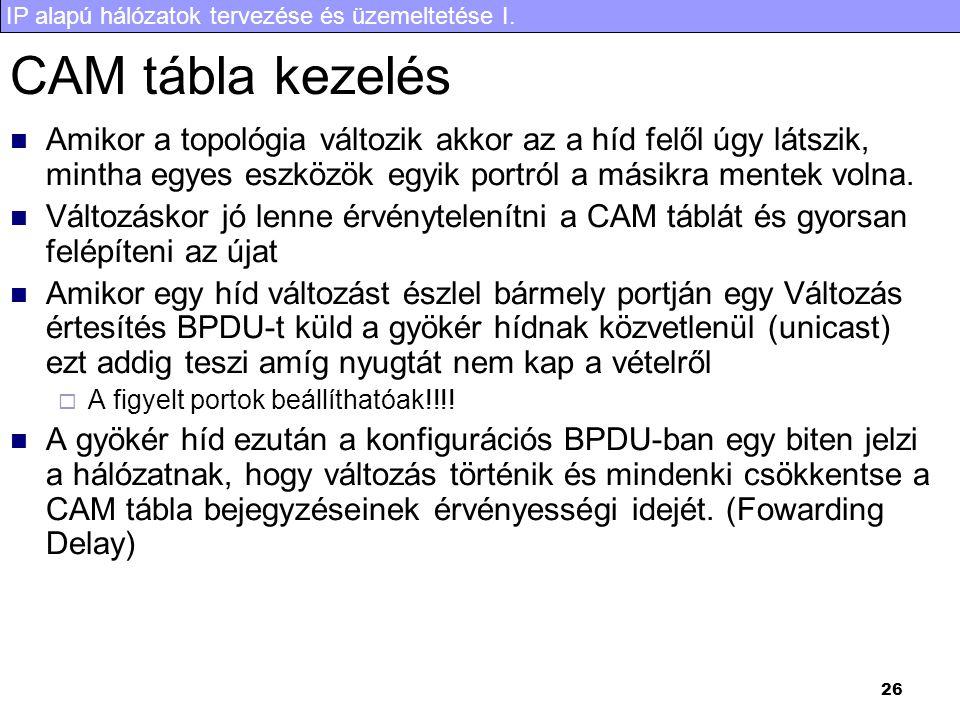 IP alapú hálózatok tervezése és üzemeltetése I. 26 CAM tábla kezelés Amikor a topológia változik akkor az a híd felől úgy látszik, mintha egyes eszköz