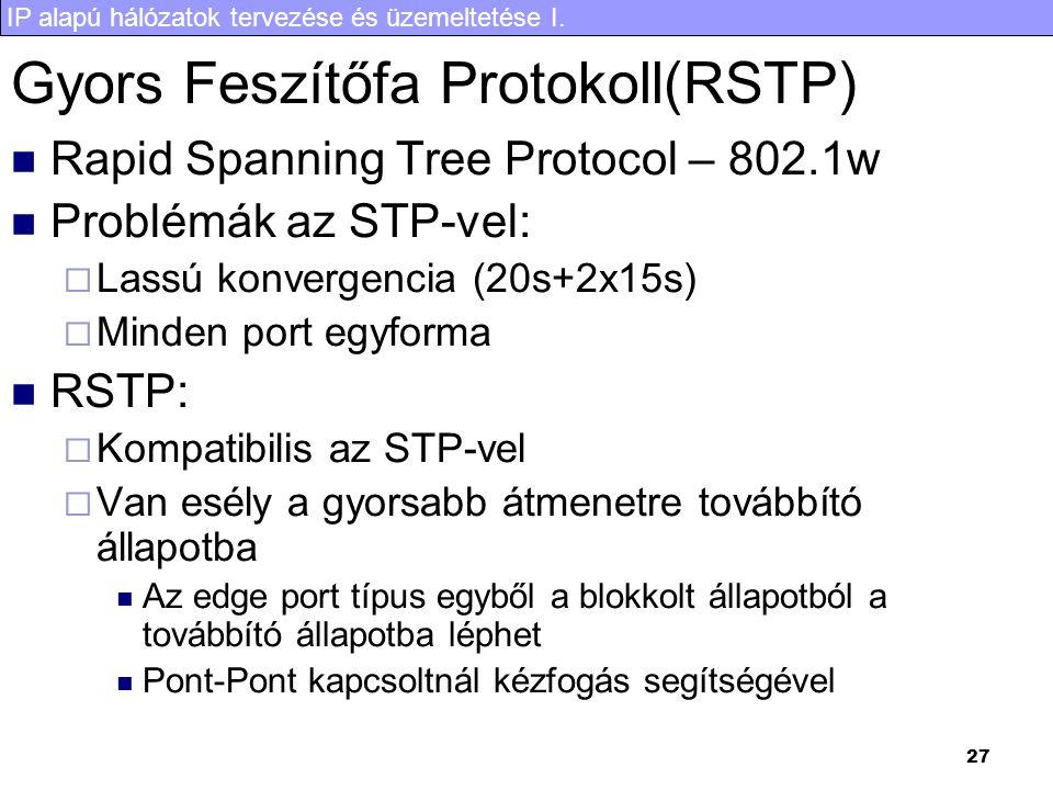 IP alapú hálózatok tervezése és üzemeltetése I. 27 Gyors Feszítőfa Protokoll(RSTP) Rapid Spanning Tree Protocol – 802.1w Problémák az STP-vel:  Lassú
