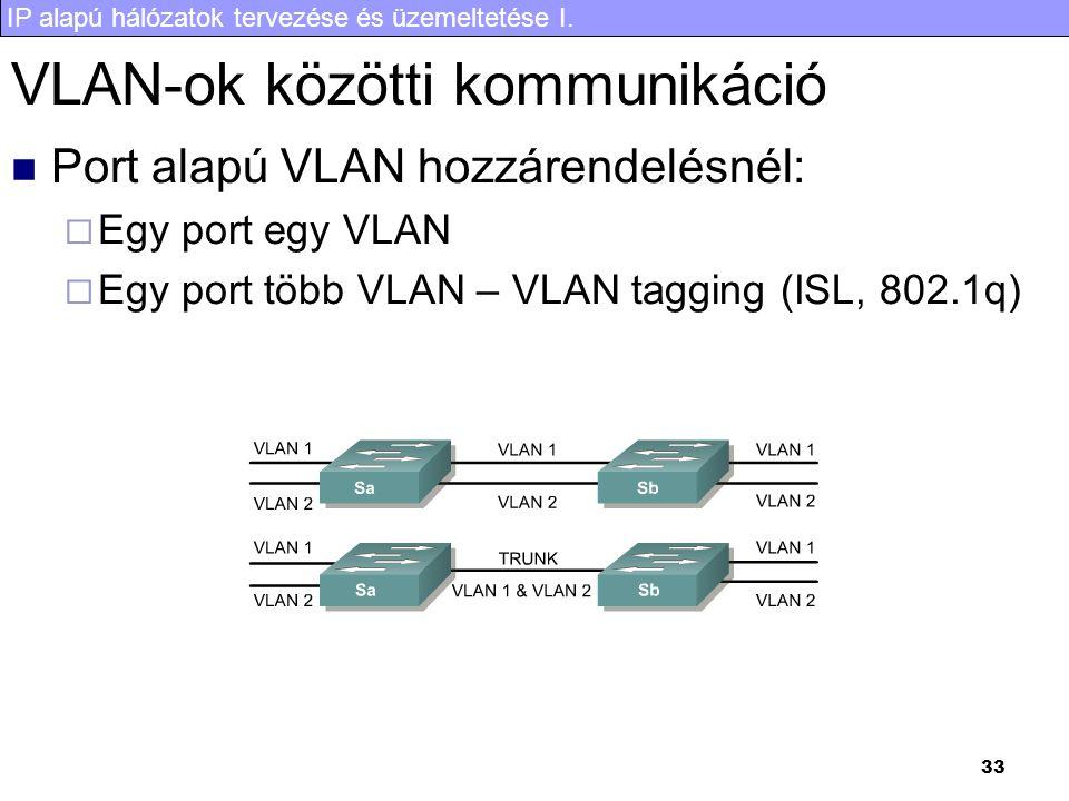 IP alapú hálózatok tervezése és üzemeltetése I. 33 VLAN-ok közötti kommunikáció Port alapú VLAN hozzárendelésnél:  Egy port egy VLAN  Egy port több