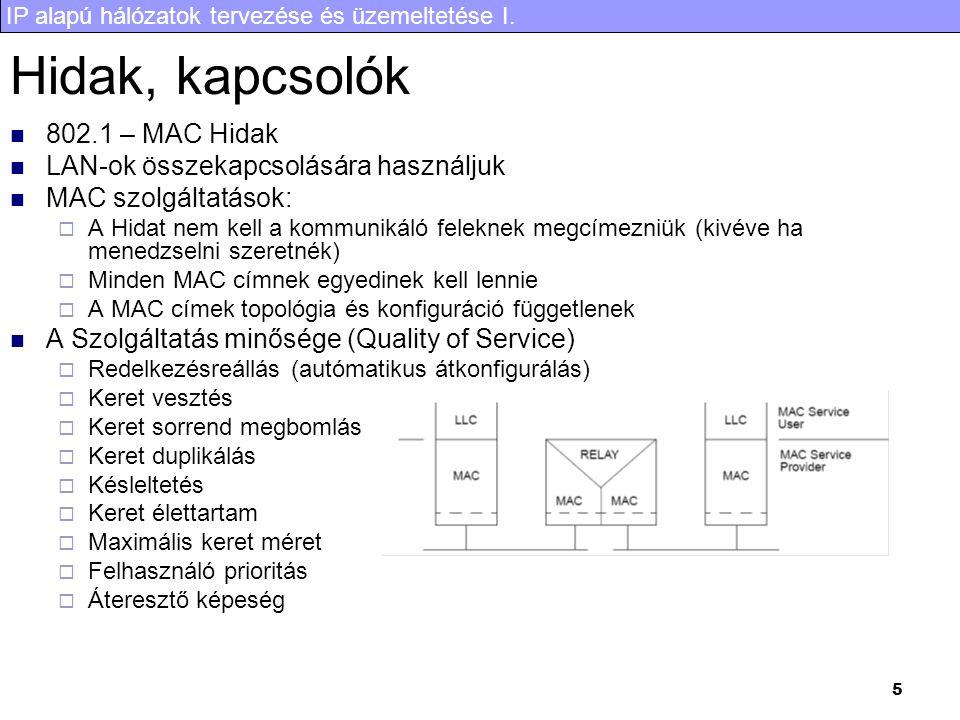 IP alapú hálózatok tervezése és üzemeltetése I. 5 Hidak, kapcsolók 802.1 – MAC Hidak LAN-ok összekapcsolására használjuk MAC szolgáltatások:  A Hidat
