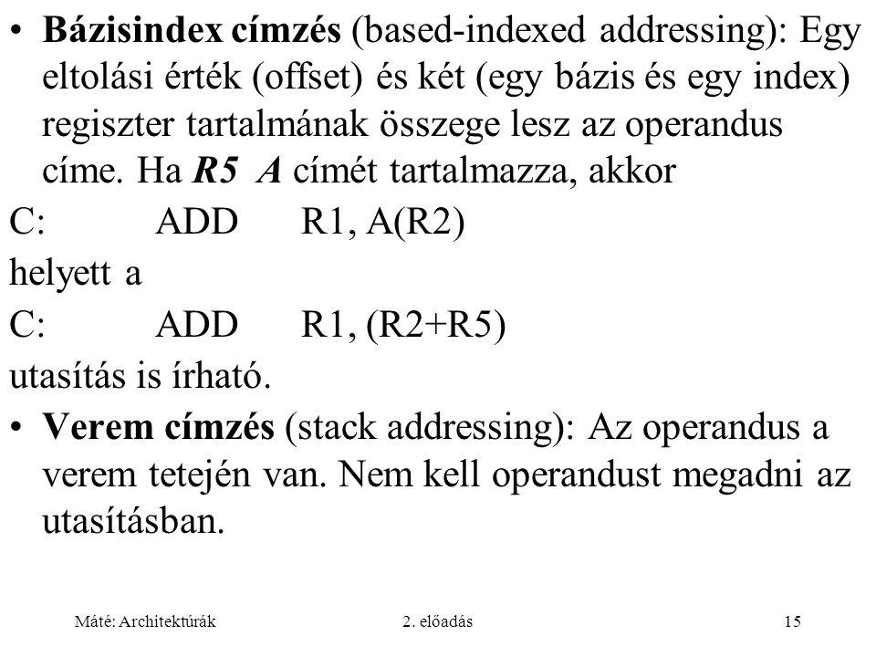 Máté: Architektúrák2. előadás15 Bázisindex címzés (based-indexed addressing): Egy eltolási érték (offset) és két (egy bázis és egy index) regiszter ta