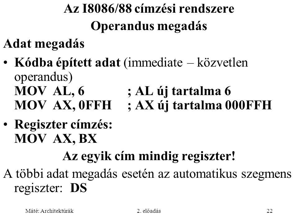 Máté: Architektúrák2. előadás22 Az I8086/88 címzési rendszere Operandus megadás Adat megadás Kódba épített adat (immediate – közvetlen operandus) MOVA