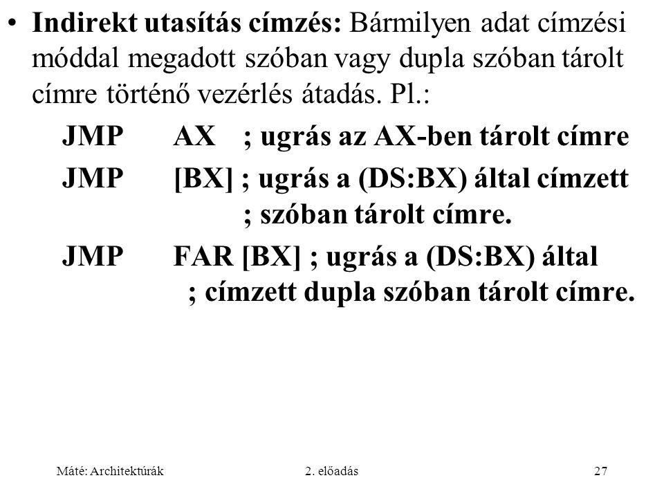 Máté: Architektúrák2. előadás27 Indirekt utasítás címzés: Bármilyen adat címzési móddal megadott szóban vagy dupla szóban tárolt címre történő vezérlé