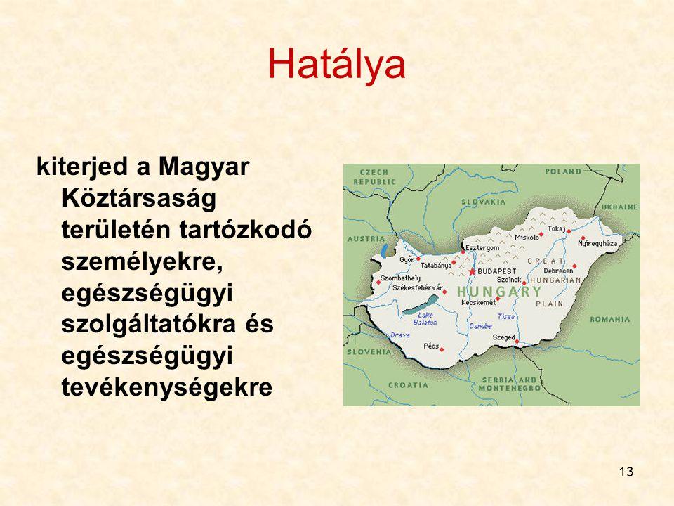 13 Hatálya kiterjed a Magyar Köztársaság területén tartózkodó személyekre, egészségügyi szolgáltatókra és egészségügyi tevékenységekre