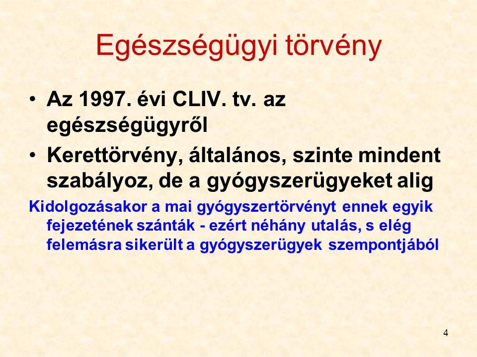 4 Egészségügyi törvény Az 1997. évi CLIV. tv. az egészségügyről Kerettörvény, általános, szinte mindent szabályoz, de a gyógyszerügyeket alig Kidolgoz