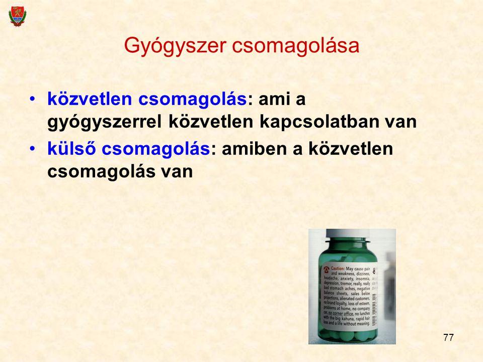 77 Gyógyszer csomagolása közvetlen csomagolás: ami a gyógyszerrel közvetlen kapcsolatban van külső csomagolás: amiben a közvetlen csomagolás van