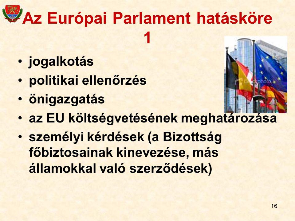 16 Az Európai Parlament hatásköre 1 jogalkotás politikai ellenőrzés önigazgatás az EU költségvetésének meghatározása személyi kérdések (a Bizottság fő