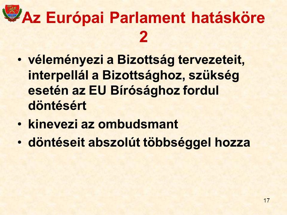 17 Az Európai Parlament hatásköre 2 véleményezi a Bizottság tervezeteit, interpellál a Bizottsághoz, szükség esetén az EU Bírósághoz fordul döntésért