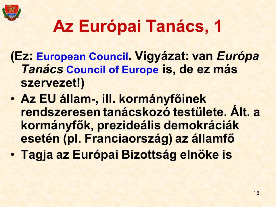 18 Az Európai Tanács, 1 (Ez: European Council. Vigyázat: van Európa Tanács Council of Europe is, de ez más szervezet!) Az EU állam-, ill. kormányfőine