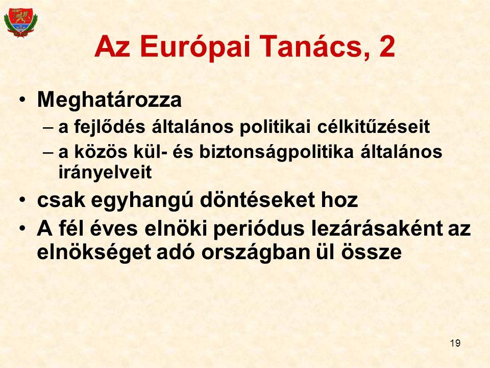 19 Az Európai Tanács, 2 Meghatározza –a fejlődés általános politikai célkitűzéseit –a közös kül- és biztonságpolitika általános irányelveit csak egyha