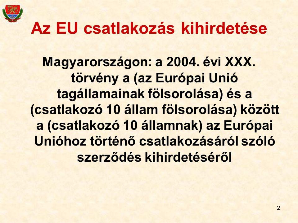 2 Az EU csatlakozás kihirdetése Magyarországon: a 2004. évi XXX. törvény a (az Európai Unió tagállamainak fölsorolása) és a (csatlakozó 10 állam fölso
