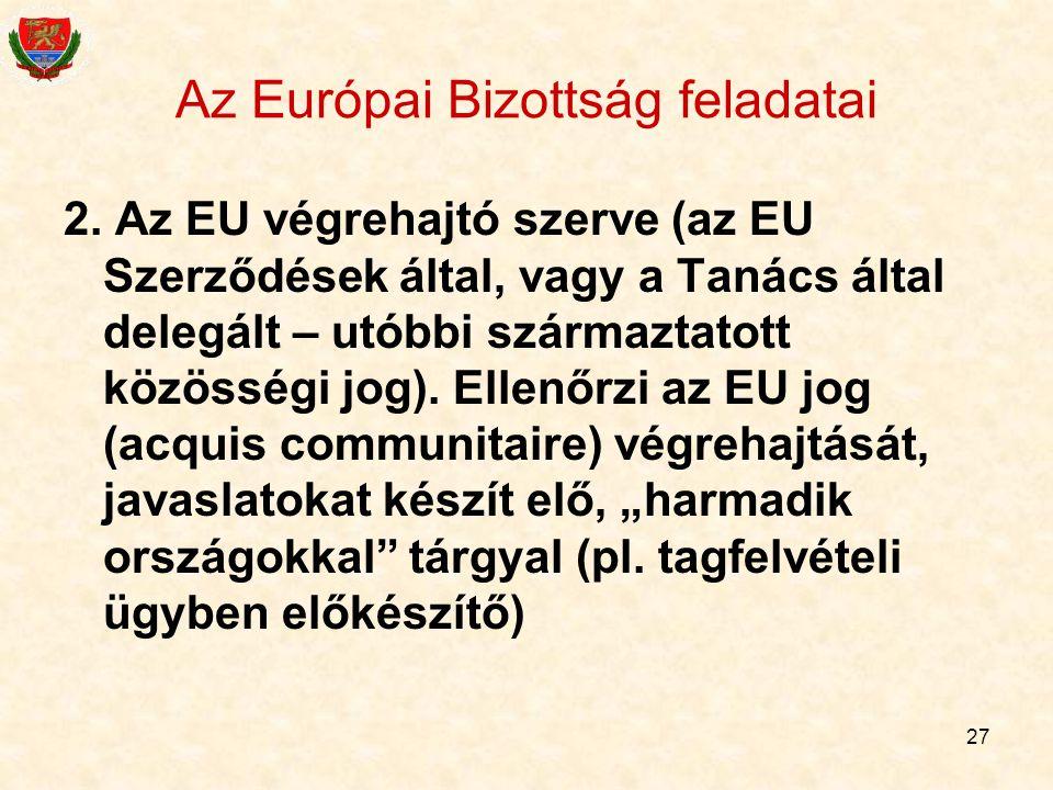 27 Az Európai Bizottság feladatai 2. Az EU végrehajtó szerve (az EU Szerződések által, vagy a Tanács által delegált – utóbbi származtatott közösségi j