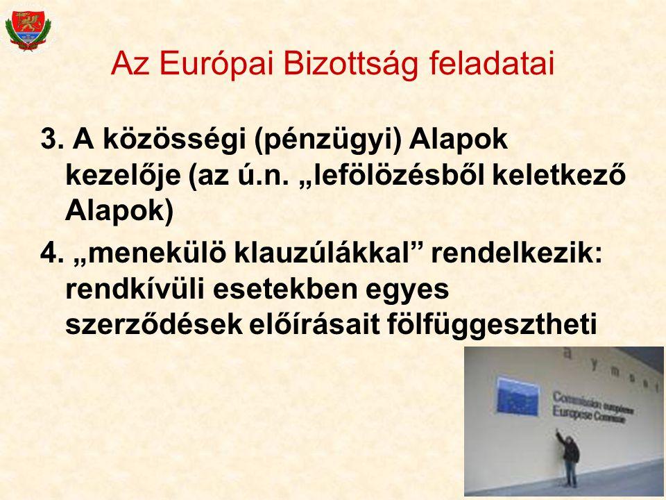 """28 Az Európai Bizottság feladatai 3. A közösségi (pénzügyi) Alapok kezelője (az ú.n. """"lefölözésből keletkező Alapok) 4. """"menekülö klauzúlákkal"""" rendel"""