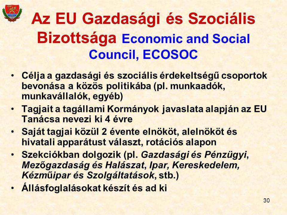 30 Az EU Gazdasági és Szociális Bizottsága Economic and Social Council, ECOSOC Célja a gazdasági és szociális érdekeltségű csoportok bevonása a közös