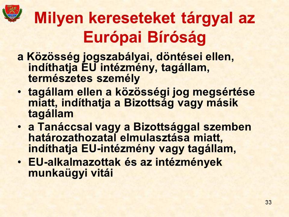 33 Milyen kereseteket tárgyal az Európai Bíróság a Közösség jogszabályai, döntései ellen, indíthatja EU intézmény, tagállam, természetes személy tagál
