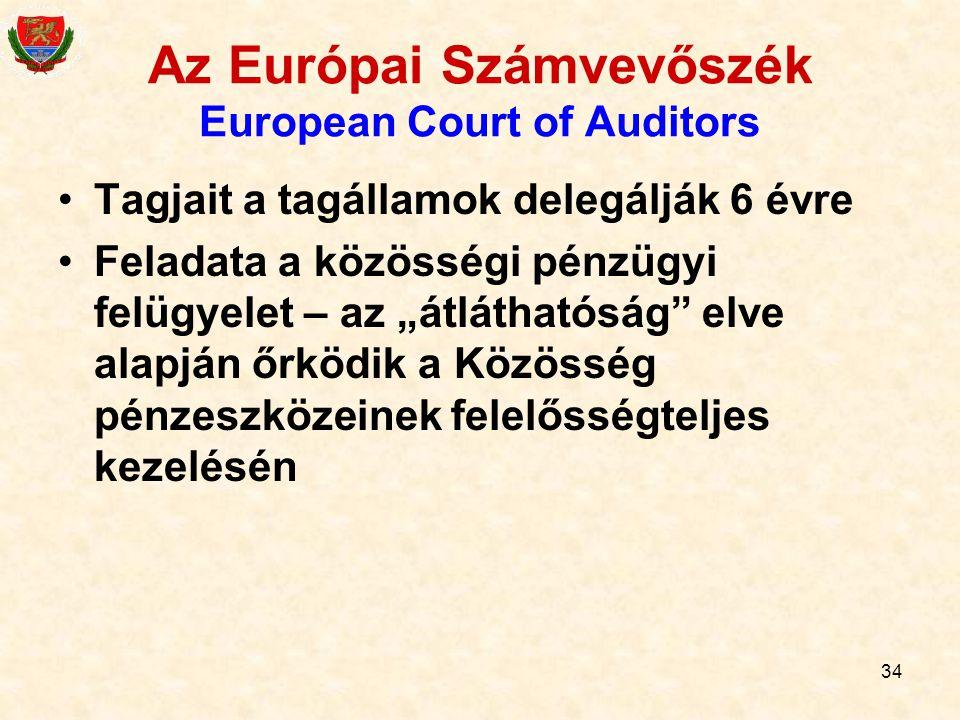 """34 Az Európai Számvevőszék European Court of Auditors Tagjait a tagállamok delegálják 6 évre Feladata a közösségi pénzügyi felügyelet – az """"átláthatós"""