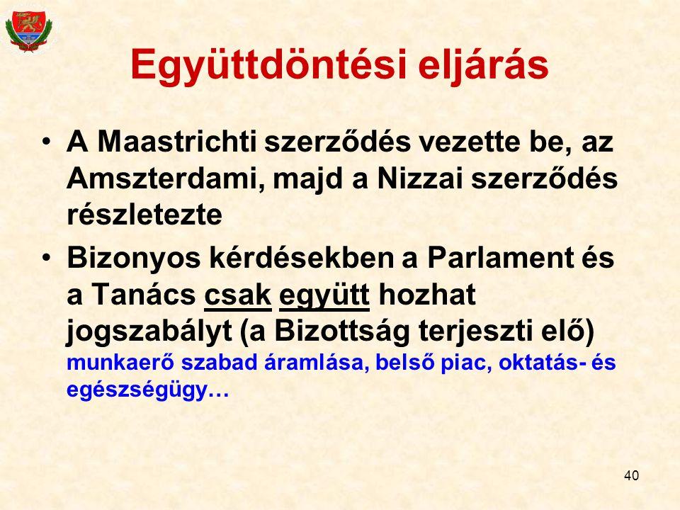 40 Együttdöntési eljárás A Maastrichti szerződés vezette be, az Amszterdami, majd a Nizzai szerződés részletezte Bizonyos kérdésekben a Parlament és a