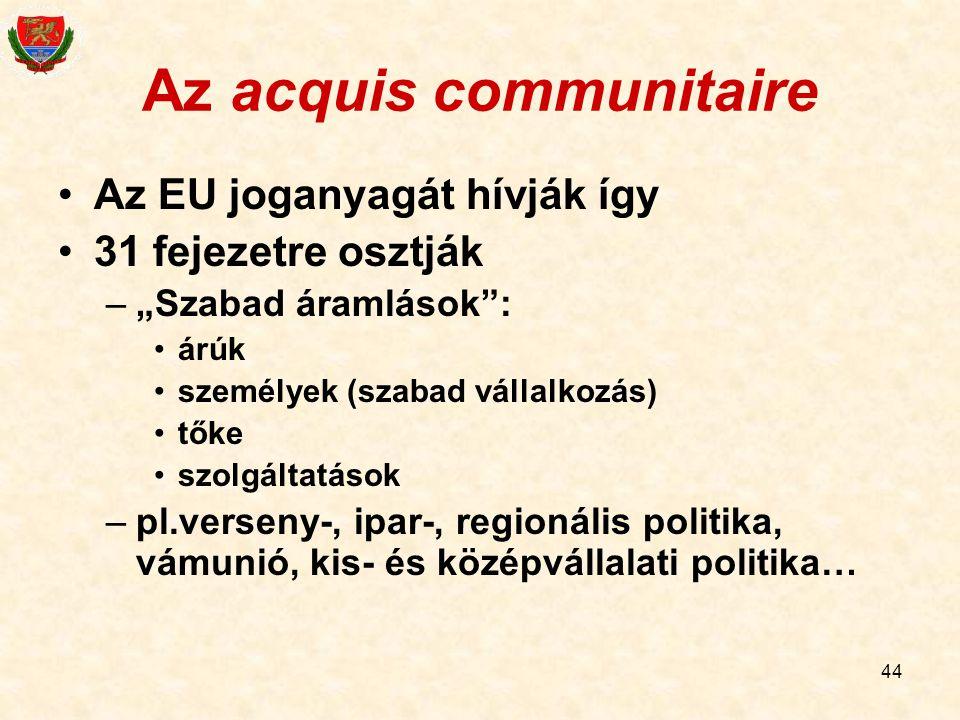 """44 Az acquis communitaire Az EU joganyagát hívják így 31 fejezetre osztják –""""Szabad áramlások"""": árúk személyek (szabad vállalkozás) tőke szolgáltatáso"""