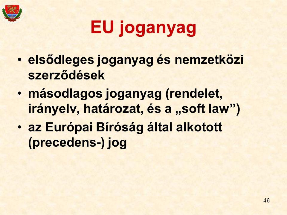 """46 EU joganyag elsődleges joganyag és nemzetközi szerződések másodlagos joganyag (rendelet, irányelv, határozat, és a """"soft law"""") az Európai Bíróság á"""