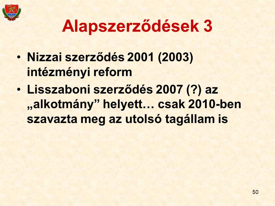 """50 Alapszerződések 3 Nizzai szerződés 2001 (2003) intézményi reform Lisszaboni szerződés 2007 (?) az """"alkotmány"""" helyett… csak 2010-ben szavazta meg a"""
