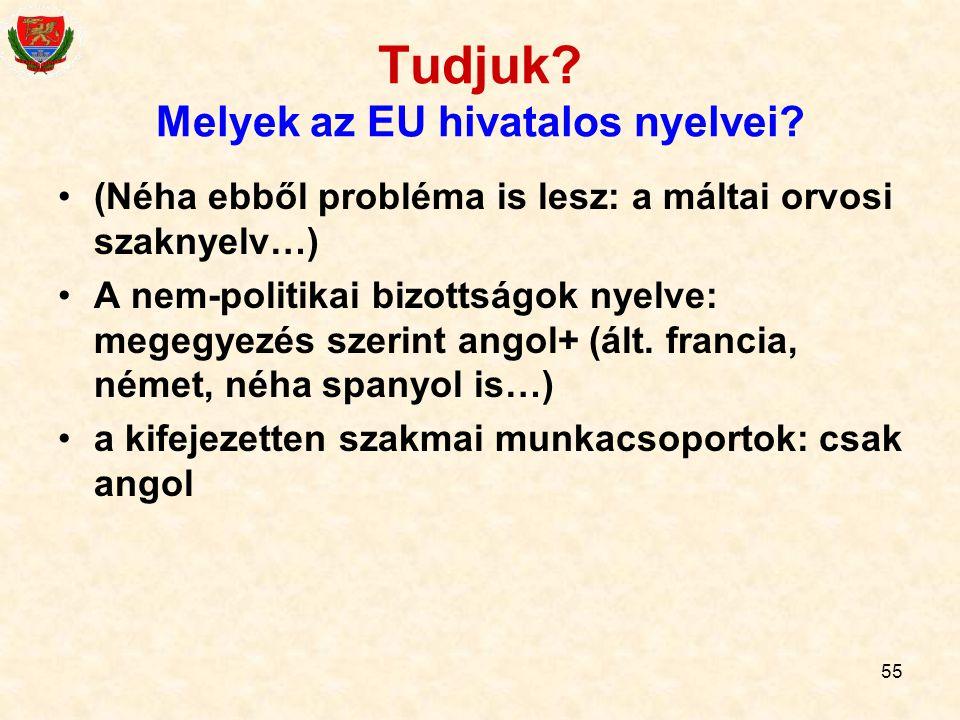 55 Tudjuk? Melyek az EU hivatalos nyelvei? (Néha ebből probléma is lesz: a máltai orvosi szaknyelv…) A nem-politikai bizottságok nyelve: megegyezés sz