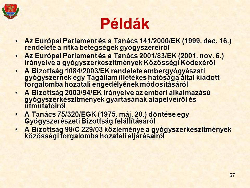 57 Példák Az Európai Parlament és a Tanács 141/2000/EK (1999. dec. 16.) rendelete a ritka betegségek gyógyszereiről Az Európai Parlament és a Tanács 2
