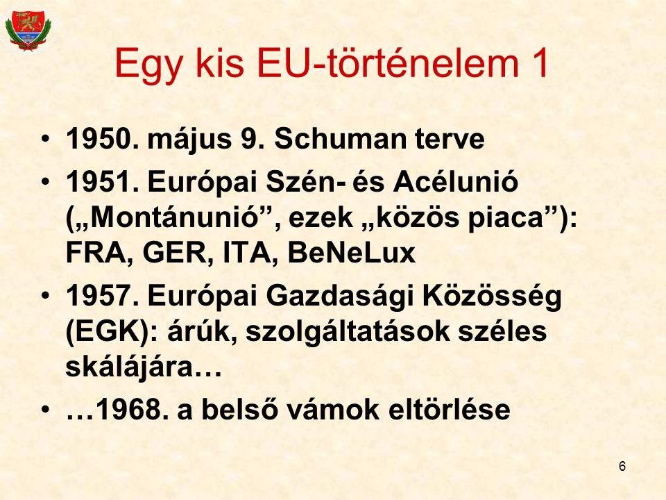 """6 Egy kis EU-történelem 1 1950. május 9. Schuman terve 1951. Európai Szén- és Acélunió (""""Montánunió"""", ezek """"közös piaca""""): FRA, GER, ITA, BeNeLux 1957"""