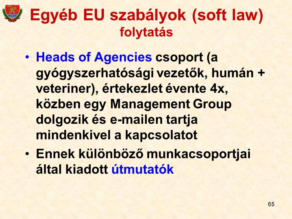 65 Egyéb EU szabályok (soft law) folytatás Heads of Agencies csoport (a gyógyszerhatósági vezetők, humán + veteriner), értekezlet évente 4x, közben eg
