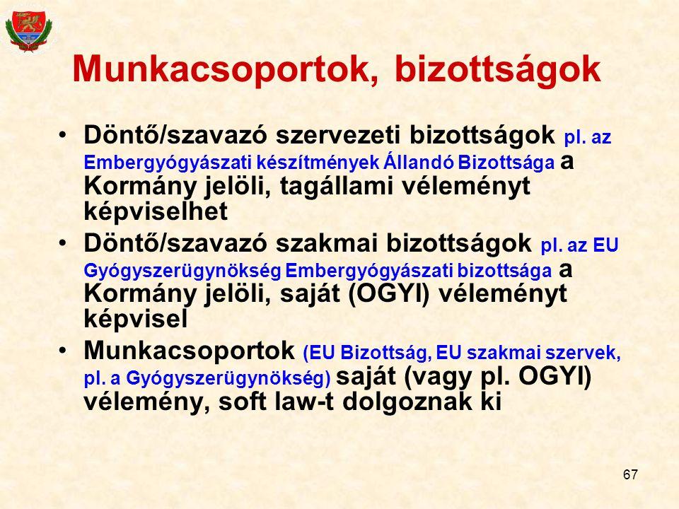 67 Munkacsoportok, bizottságok Döntő/szavazó szervezeti bizottságok pl. az Embergyógyászati készítmények Állandó Bizottsága a Kormány jelöli, tagállam