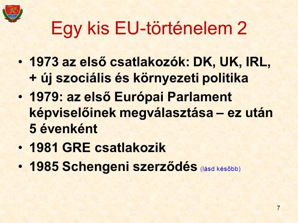 7 Egy kis EU-történelem 2 1973 az első csatlakozók: DK, UK, IRL, + új szociális és környezeti politika 1979: az első Európai Parlament képviselőinek m