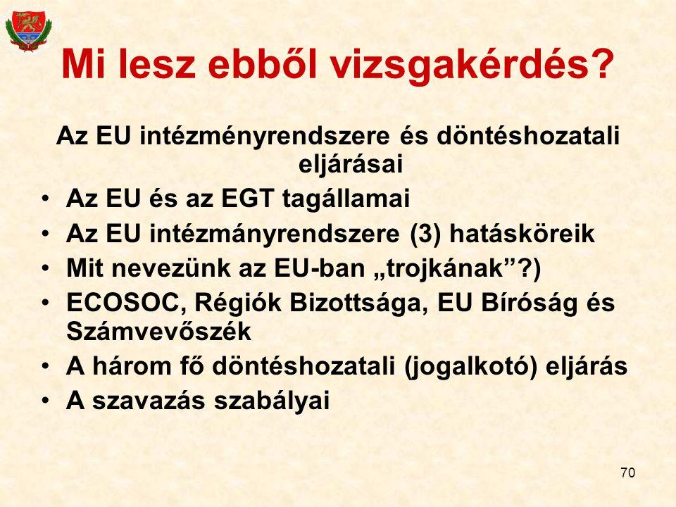 70 Mi lesz ebből vizsgakérdés? Az EU intézményrendszere és döntéshozatali eljárásai Az EU és az EGT tagállamai Az EU intézmányrendszere (3) hatáskörei