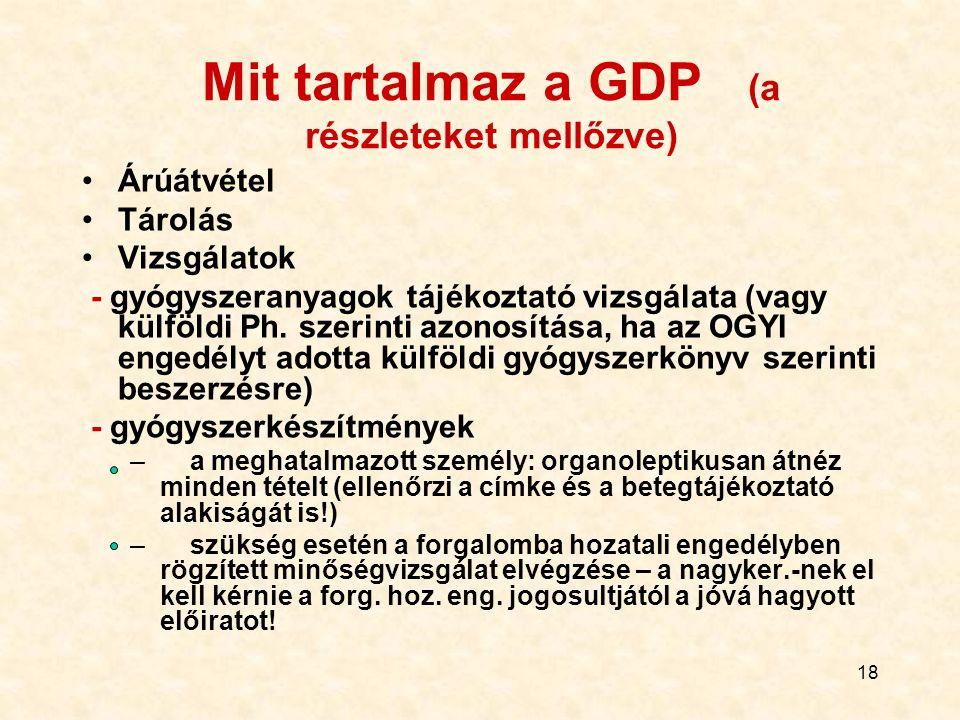18 Mit tartalmaz a GDP (a részleteket mellőzve) Árúátvétel Tárolás Vizsgálatok - gyógyszeranyagok tájékoztató vizsgálata (vagy külföldi Ph. szerinti a