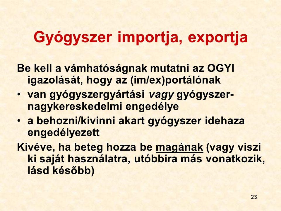23 Gyógyszer importja, exportja Be kell a vámhatóságnak mutatni az OGYI igazolását, hogy az (im/ex)portálónak van gyógyszergyártási vagy gyógyszer- na