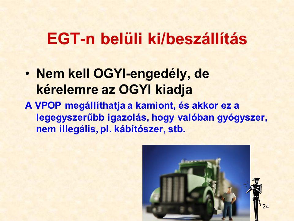 24 EGT-n belüli ki/beszállítás Nem kell OGYI-engedély, de kérelemre az OGYI kiadja A VPOP megállíthatja a kamiont, és akkor ez a legegyszerűbb igazolá