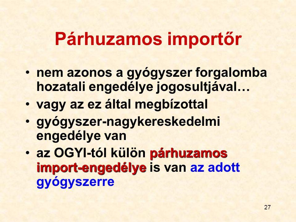 27 Párhuzamos importőr nem azonos a gyógyszer forgalomba hozatali engedélye jogosultjával… vagy az ez által megbízottal gyógyszer-nagykereskedelmi eng