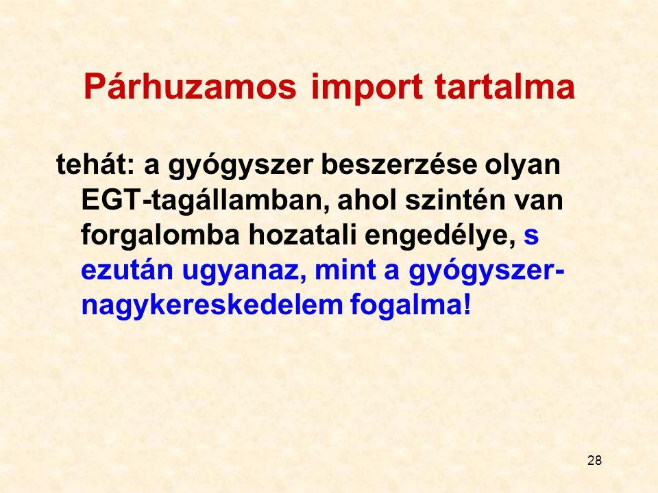 28 Párhuzamos import tartalma tehát: a gyógyszer beszerzése olyan EGT-tagállamban, ahol szintén van forgalomba hozatali engedélye, s ezután ugyanaz, m