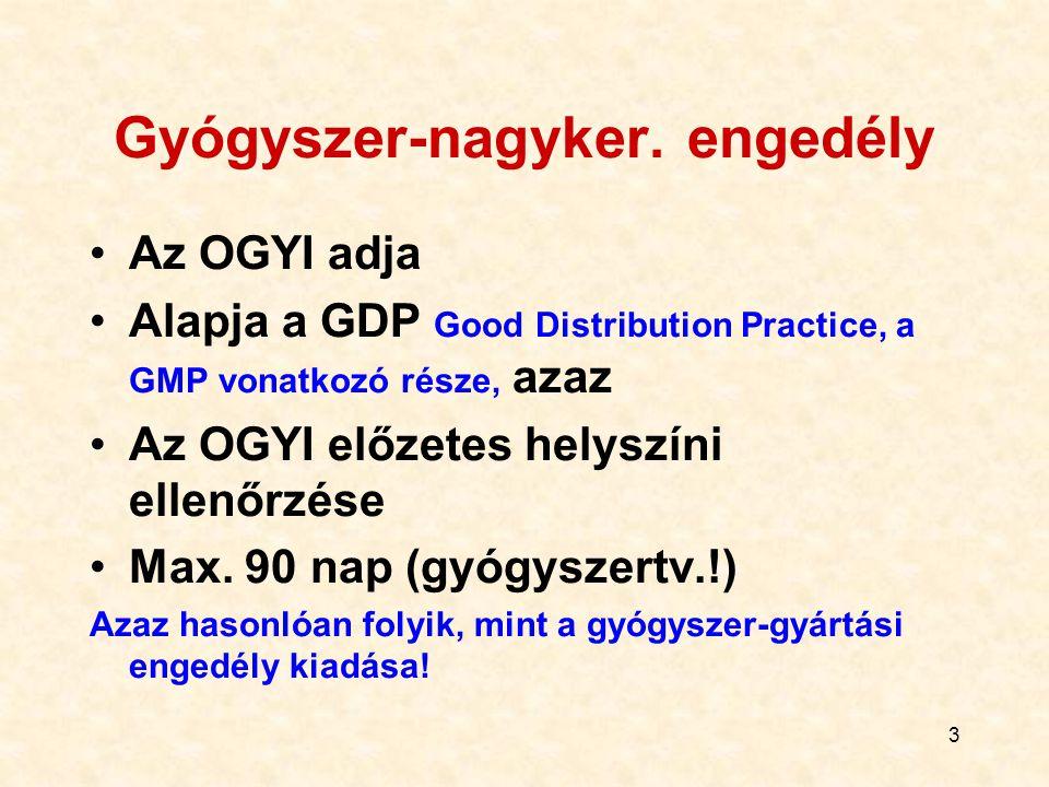 3 Gyógyszer-nagyker. engedély Az OGYI adja Alapja a GDP Good Distribution Practice, a GMP vonatkozó része, azaz Az OGYI előzetes helyszíni ellenőrzése