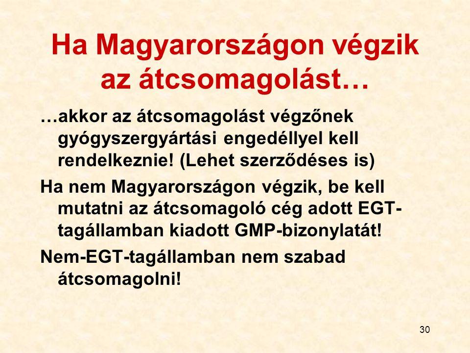 30 Ha Magyarországon végzik az átcsomagolást… …akkor az átcsomagolást végzőnek gyógyszergyártási engedéllyel kell rendelkeznie! (Lehet szerződéses is)