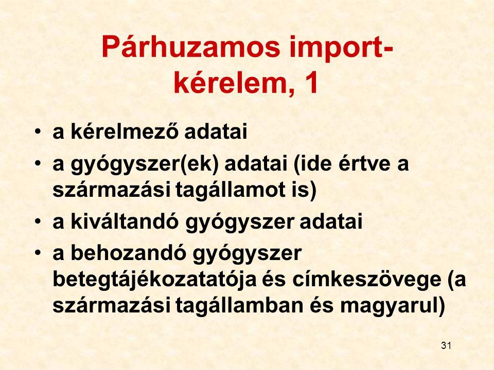 31 Párhuzamos import- kérelem, 1 a kérelmező adatai a gyógyszer(ek) adatai (ide értve a származási tagállamot is) a kiváltandó gyógyszer adatai a beho