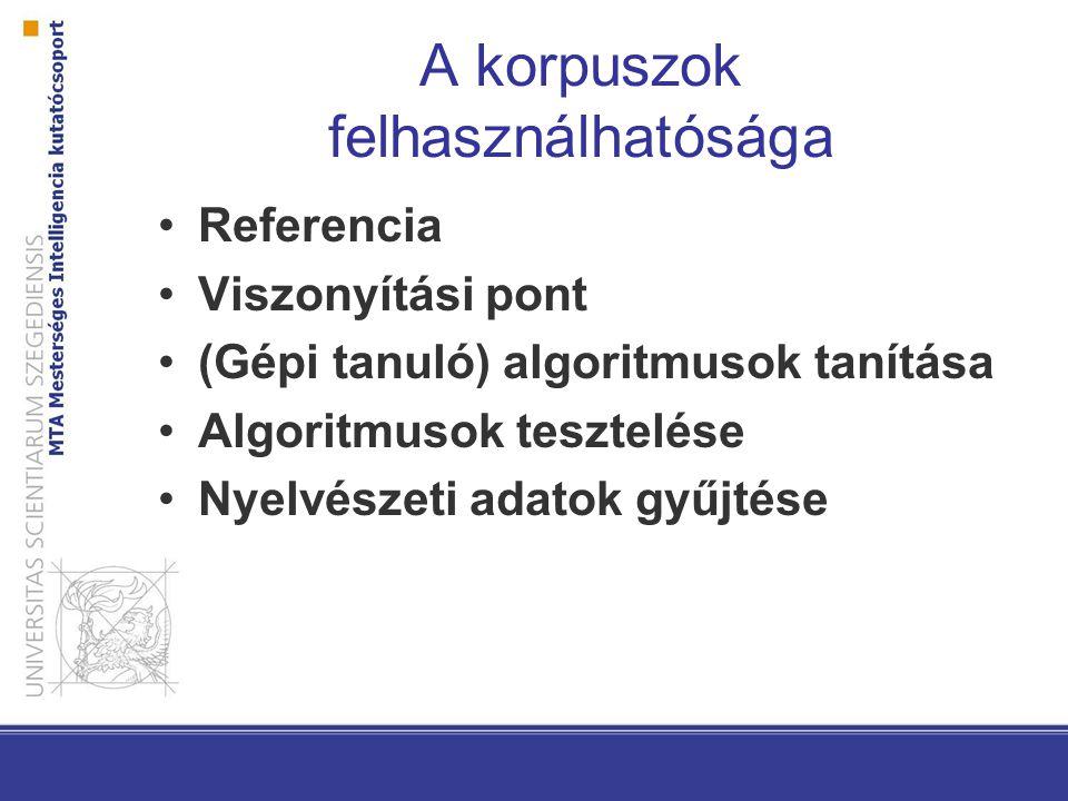 A korpuszok felhasználhatósága Referencia Viszonyítási pont (Gépi tanuló) algoritmusok tanítása Algoritmusok tesztelése Nyelvészeti adatok gyűjtése