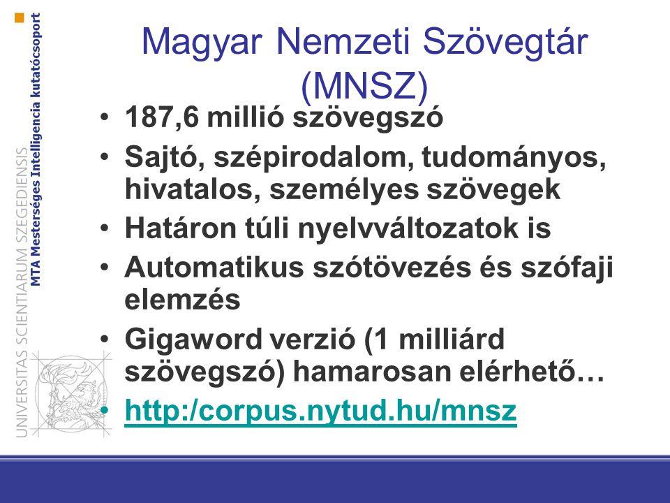 Magyar Nemzeti Szövegtár (MNSZ) 187,6 millió szövegszó Sajtó, szépirodalom, tudományos, hivatalos, személyes szövegek Határon túli nyelvváltozatok is Automatikus szótövezés és szófaji elemzés Gigaword verzió (1 milliárd szövegszó) hamarosan elérhető… http:/corpus.nytud.hu/mnsz