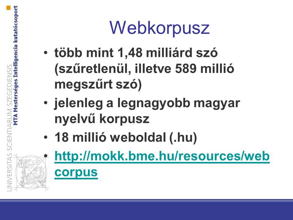 Webkorpusz több mint 1,48 milliárd szó (szűretlenül, illetve 589 millió megszűrt szó) jelenleg a legnagyobb magyar nyelvű korpusz 18 millió weboldal (.hu) http://mokk.bme.hu/resources/web corpushttp://mokk.bme.hu/resources/web corpus
