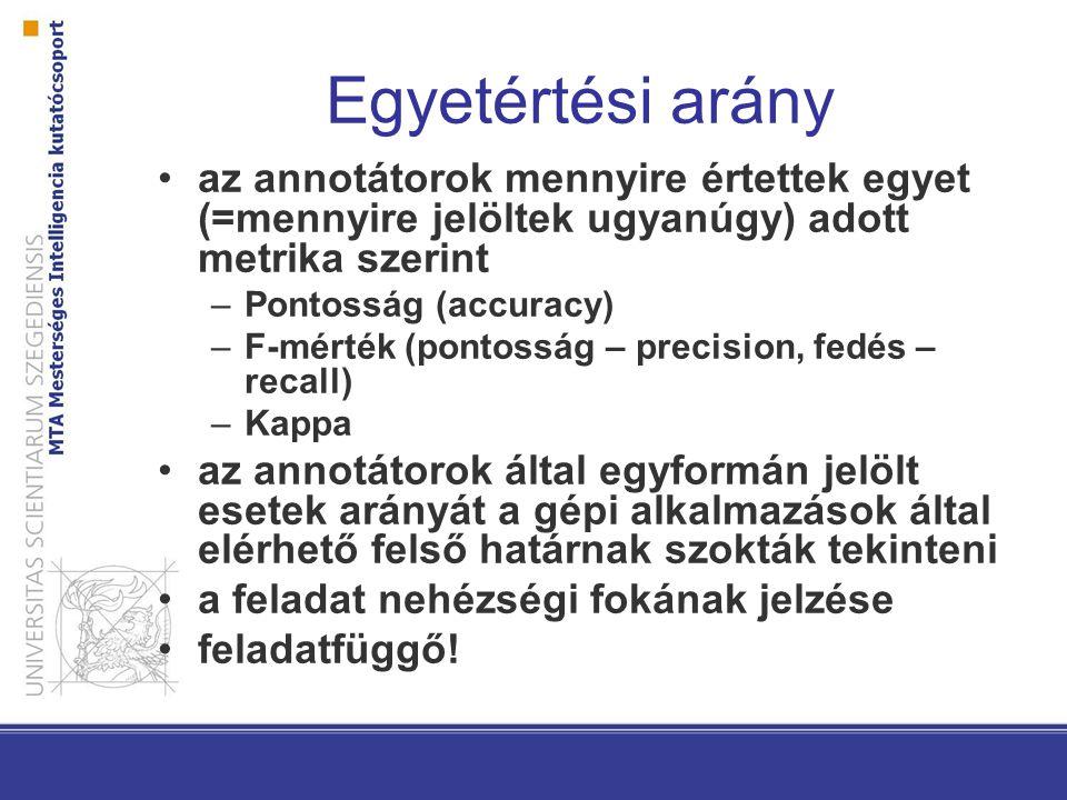 Szeged (Dependencia) Treebank 82 000 mondat 1,5 millió szövegszó 230 000 írásjel 6 domén –iskolai fogalmazások –számítógépes szövegek –irodalom –jogi szövegek –újságcikkek –üzleti rövidhírek Kézzel ellenőrzött morfológiai és szintaktikai (konstituens és függőségi) elemzés, névelemek, félig kompozicionális szerkezetek http://www.inf.u-szeged.hu/rgai/SzegedTreebank