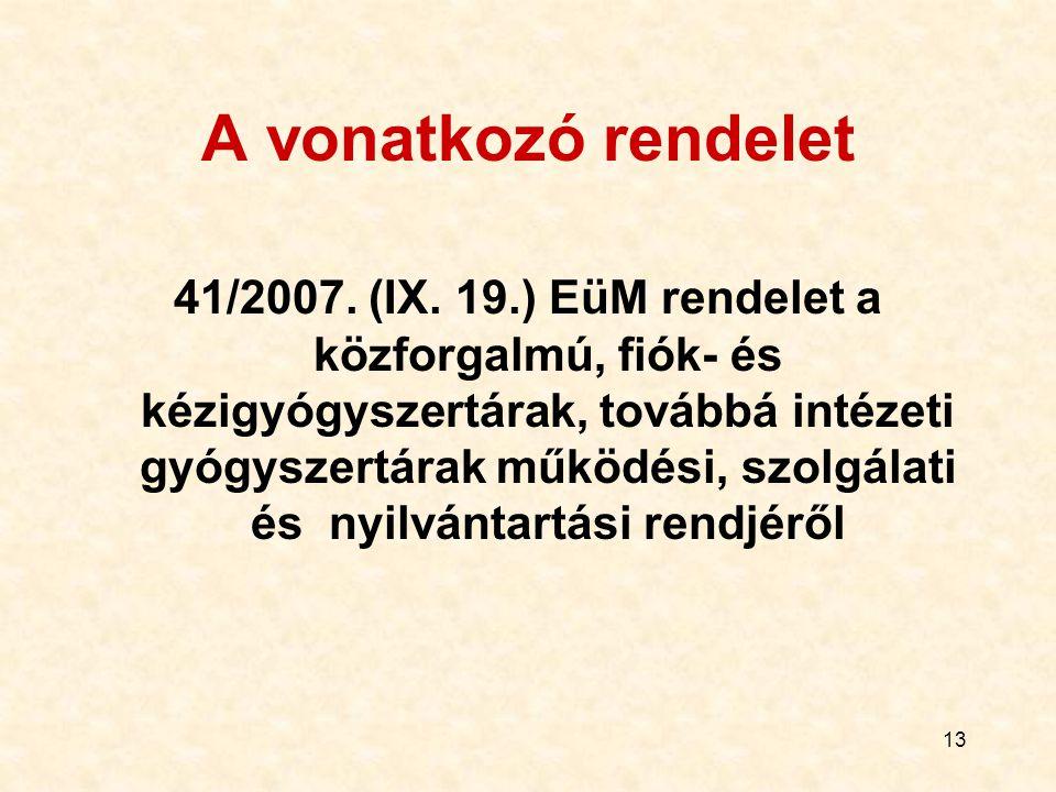 13 A vonatkozó rendelet 41/2007. (IX. 19.) EüM rendelet a közforgalmú, fiók- és kézigyógyszertárak, továbbá intézeti gyógyszertárak működési, szolgála