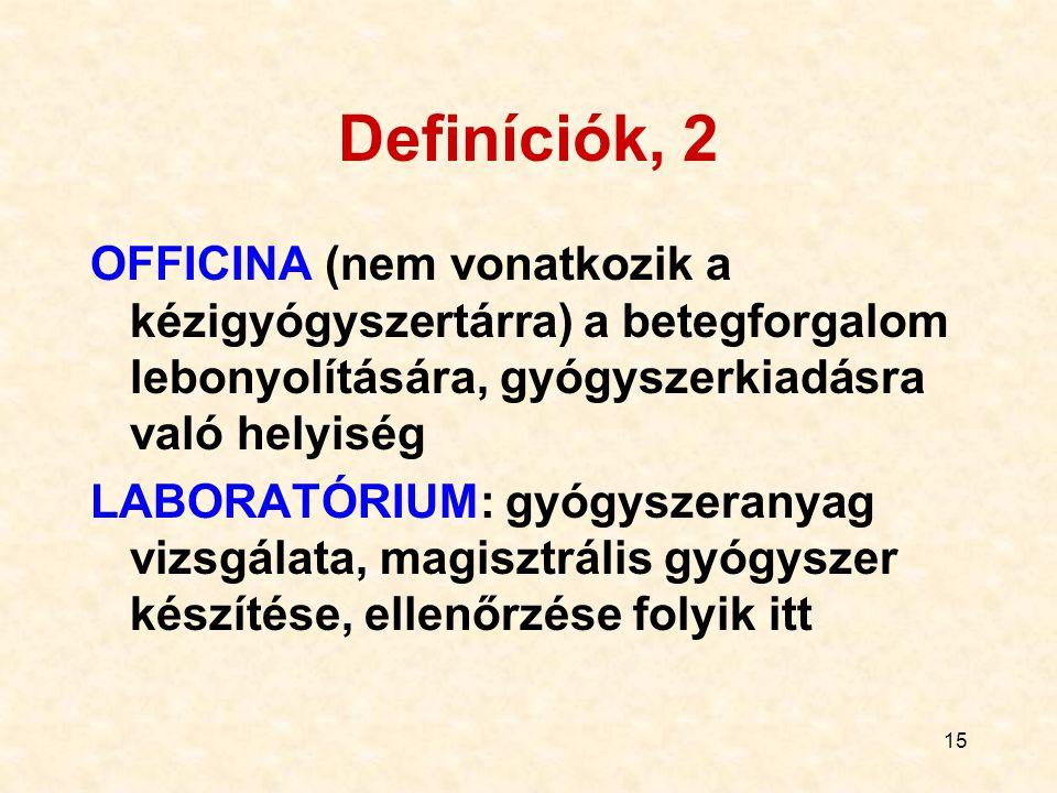 15 Definíciók, 2 OFFICINA (nem vonatkozik a kézigyógyszertárra) a betegforgalom lebonyolítására, gyógyszerkiadásra való helyiség LABORATÓRIUM: gyógysz