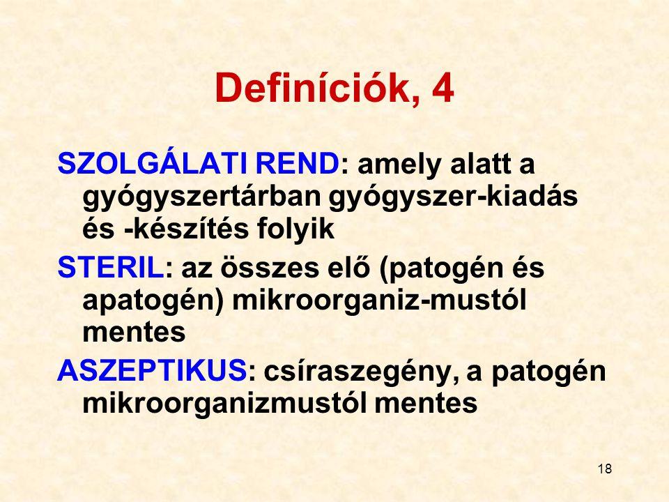 18 Definíciók, 4 SZOLGÁLATI REND: amely alatt a gyógyszertárban gyógyszer-kiadás és -készítés folyik STERIL: az összes elő (patogén és apatogén) mikro