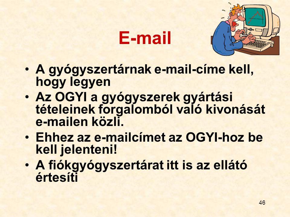 46 E-mail A gyógyszertárnak e-mail-címe kell, hogy legyen Az OGYI a gyógyszerek gyártási tételeinek forgalomból való kivonását e-mailen közli. Ehhez a