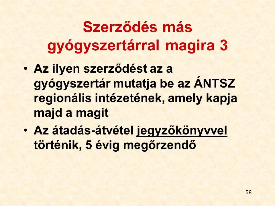 58 Szerződés más gyógyszertárral magira 3 Az ilyen szerződést az a gyógyszertár mutatja be az ÁNTSZ regionális intézetének, amely kapja majd a magit A