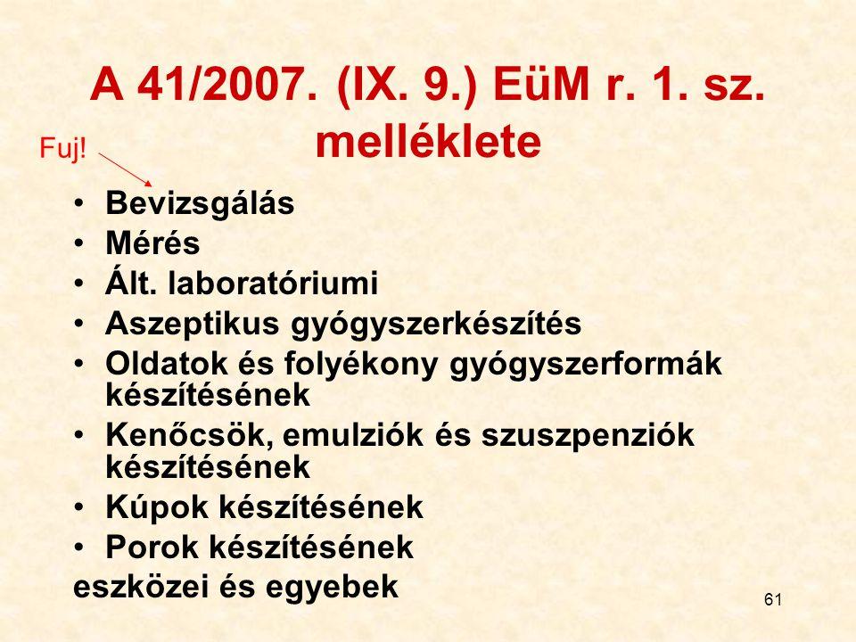 61 A 41/2007. (IX. 9.) EüM r. 1. sz. melléklete Bevizsgálás Mérés Ált. laboratóriumi Aszeptikus gyógyszerkészítés Oldatok és folyékony gyógyszerformák