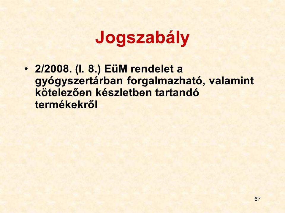 67 Jogszabály 2/2008. (I. 8.) EüM rendelet a gyógyszertárban forgalmazható, valamint kötelezően készletben tartandó termékekről